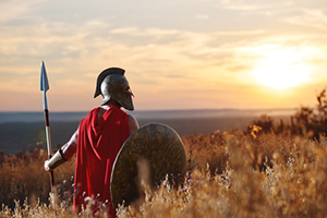 Roman Warrior Sunset in Field